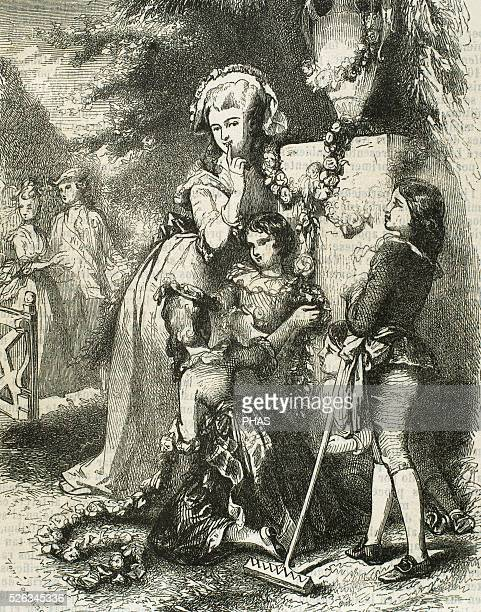 Marie Antoinette wife of Louis XVI and Queen of France with her children in Trianon Engraving in 'Galeria Universal' 1868