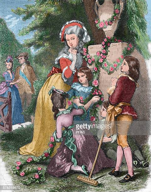 Marie Antoinette wife of Louis XVI and Queen of France with her children in Trianon Engraving in 'Galeria Universal' 1868 Colored