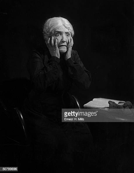Marie Ault the British character actress of stage and screen plays the part of the mother in the film 'The Monkey's Paw' written by W W Jacobs and...
