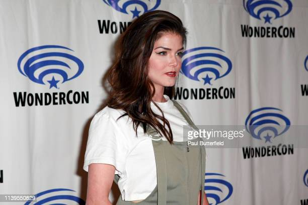 Marie Avgeropoulos attends the 'The 100' press line during WonderCon 2019 at Anaheim Convention Center on March 31 2019 in Anaheim California
