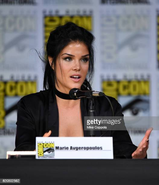 Marie Avgeropoulos speaks onstage at ComicCon International 2017 The 100 panel at San Diego Convention Center on July 21 2017 in San Diego California