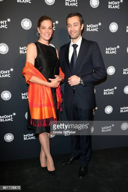 Marie Baeumer and Vincent Montalescot Executive Vice President Marketing Montblanc International during the 27th Montblanc de la Culture Arts...