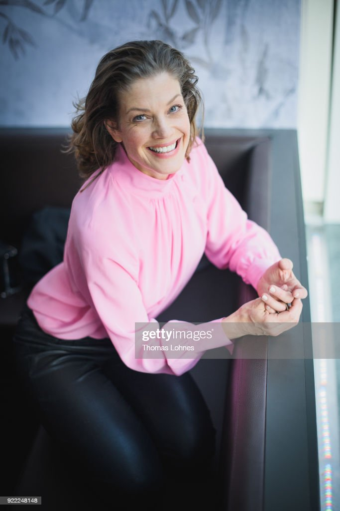 Marie Baeumer poses during the '3 Days in Quiberon' (3 Tage in Quiberon) portrait session at the 68th Berlinale International Film Festival Berlin at Golden Bear Lounge on February 21, 2018 in Berlin, Germany.