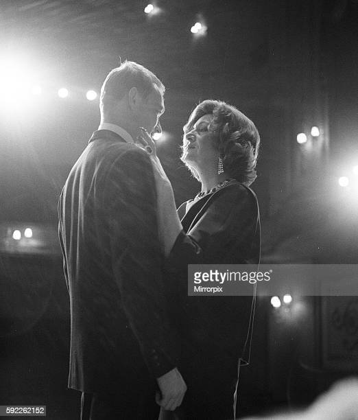 Marie Bell and Pierre Vaneck rehearse a scene from the production of Francoise Sagan's Les Violons Parfois' at the Piccadily Theatre in London's West...