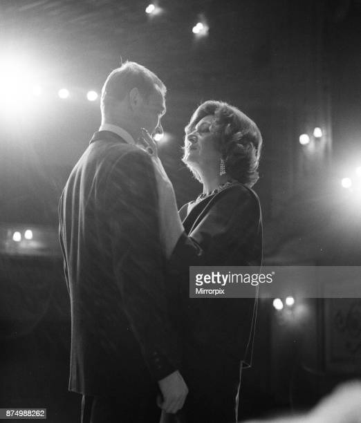 Marie Bell and Pierre Vaneck rehearse a scene from the production of Francoise Sagan's 'Les Violons Parfois' at the Piccadily Theatre in London's...