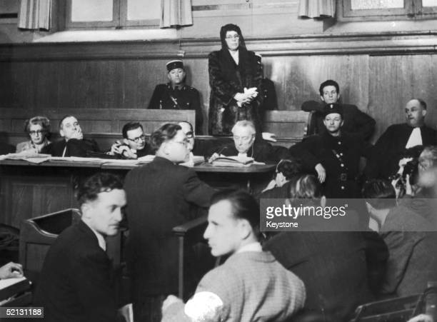 Marie Besnard known as 'The Black Widow of Loudun' stands trial at Poitiers assises for the murder of eleven members of her family 23rd February 1952...