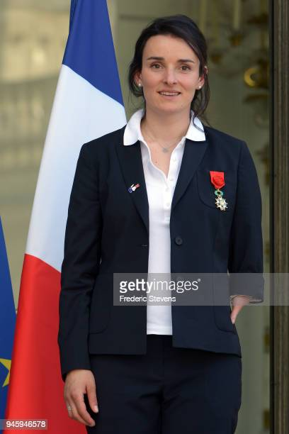 Marie Bochet French alpine skier and Paralympic Champion Gold medalist at the Pyeongchang Winter Olympics poses at the Elysee Palace after a cocktail...