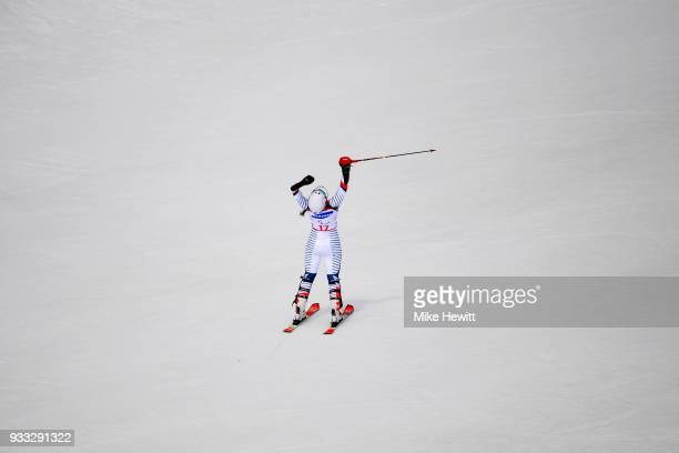Marie Bochet of France celebrates victory in the Women's Slalom Standing on day nine of the PyeongChang 2018 Paralympic Games on March 18 2018 in...