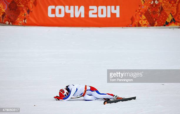 Marie Bochet of France celebrates winning the gold medal in the Women's Giant Slalom Standing during day nine of the Sochi 2014 Paralympic Winter...