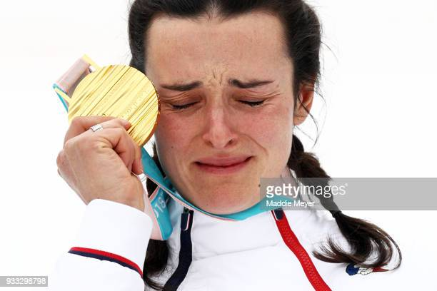 Marie Bochet of France celebrates with her gold medal in the Women's Standing Slalom at Jeongseon Alpine Centre on Day 9 of the PyeongChang 2018...