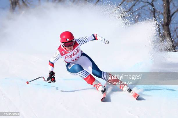 Marie Bochet of France compete in the Alpine Skiing Women's Downhill Standing during day one of the PyeongChang 2018 Paralympic Games on March 10...