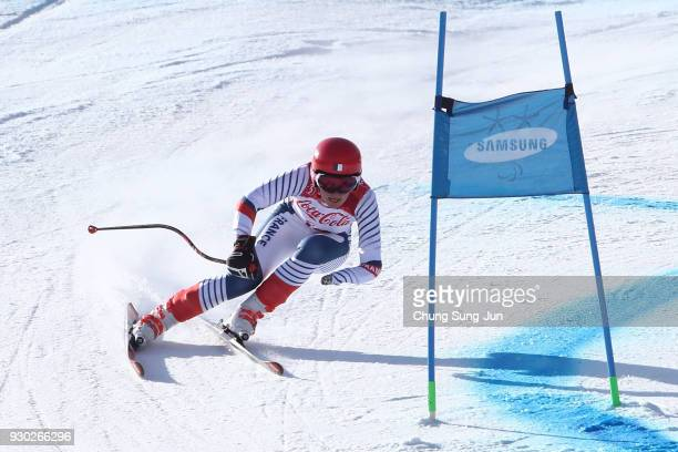Marie Bochet of France competes in the Alpine Skiing Women's SuperG Visually Impaired during day two of the PyeongChang 2018 Paralympic Games on...
