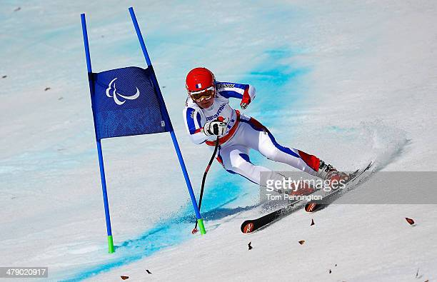 Marie Bochet of France competes in the Women's Giant Slalom Standing during day nine of the Sochi 2014 Paralympic Winter Games at Rosa Khutor Alpine...