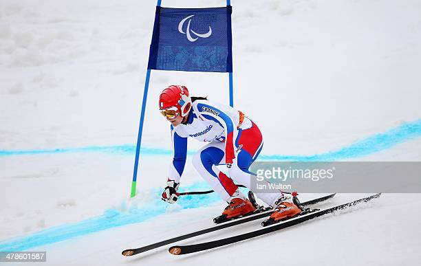 Marie Bochet of France competes in the Women's Super Combined Standing Super G during day seven of the Sochi 2014 Paralympic Winter Games at Rosa...