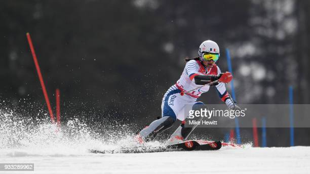 Marie Bochet of France on her way to the Gold medal in the Women's Slalom Standing on day nine of the PyeongChang 2018 Paralympic Games on March 18...