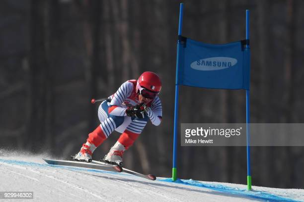 Marie Bochet of France on her way to victory in the Women's Downhill Standing during day one of the PyeongChang 2018 Paralympic Games on March 10...