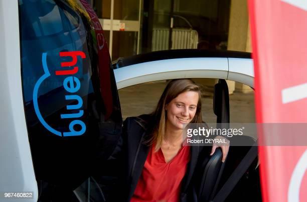Marie Bolloré directrice générale des applications mobilité électrique 'Blue Solutions' du Groupe Bolloré en visite à Lyon à l'occasion des 3 ans de...