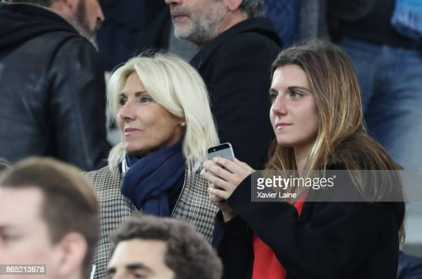 Marie Bourseiller and her daugther Sara Luna Leconte attend the Ligue 1cmatch between Olympique Marseille and Paris Saint Germain at Orange Velodrome...