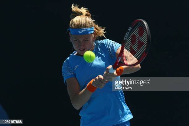 Marie Bouzková of the Czech Republic hits a backhand in her match against Barbora Krejcíková of the Czech Republic during day two of Qualifying for...