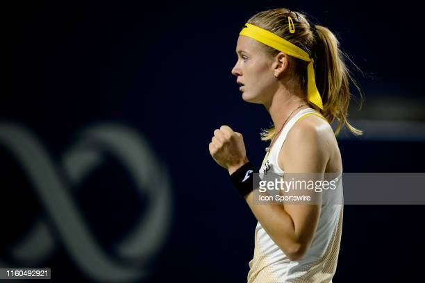 Marie Bouzkova celebrates after winning a point during her quarterfinals match of the Rogers Cup tennis tournament on August 9 at Aviva Centre in...