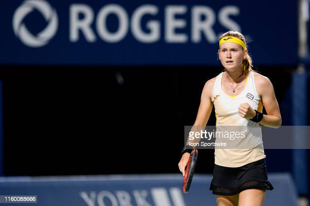Marie Bouzkova celebrates after winning a point during her second round match of the Rogers Cup tennis tournament on August 6 at Aviva Centre in...