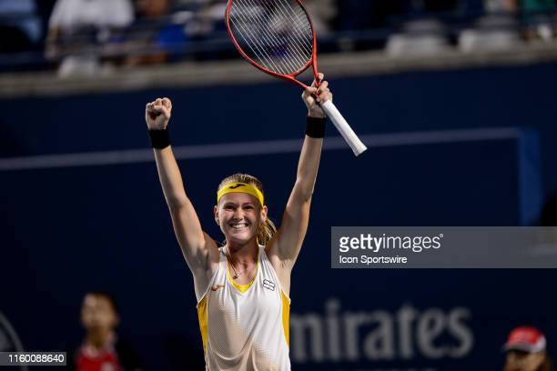 Marie Bouzkova celebrates after winning her second round match of the Rogers Cup tennis tournament on August 6 at Aviva Centre in Toronto ON Canada