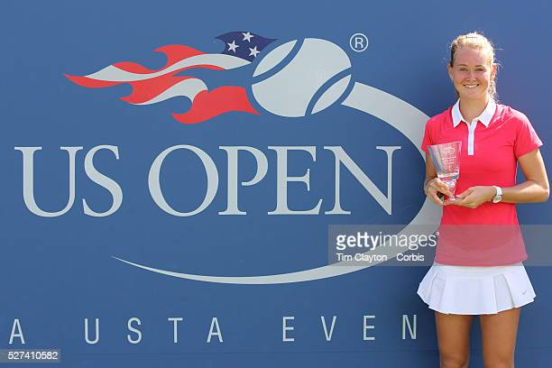 Marie Bouzkova Czech Republic with her winning trophy after defeating Anhelina Kalinina Ukraine in the Junior Girls' Singles Final during the US Open...