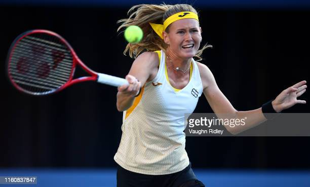 Marie Bouzkova of Czech Republic hits a shot against Serena Williams of the United States during a semifinal match on Day 8 of the Rogers Cup at...