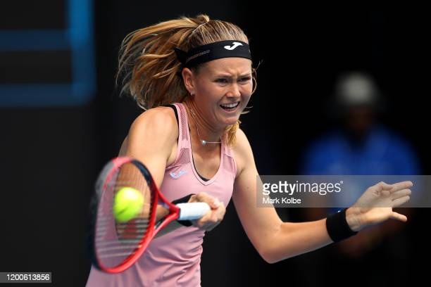 Marie Bouzkova of Czech Republic plays a forehand during her Women's Singles first round match against Naomi Osaka of Japan on day one of the 2020...