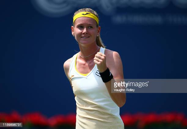 Marie Bouzkova of Czech Republic reacts after defeating Leylah Fernandez of Canada during a first round match on Day 3 of the Rogers Cup at Aviva...