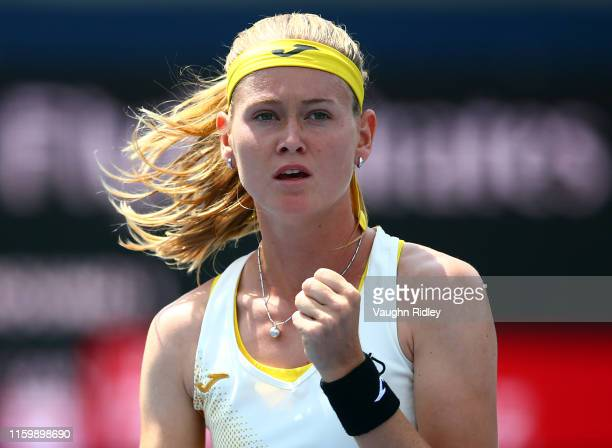 Marie Bouzkova of Czech Republic reacts after winning a point against Leylah Fernandez of Canada during a first round match on Day 3 of the Rogers...