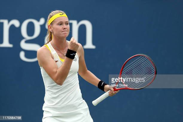 Marie Bouzkova of the Czech Republic celebrates a point against Ajla Tomljanovic of Australia during their Women's Singles first round match on day...