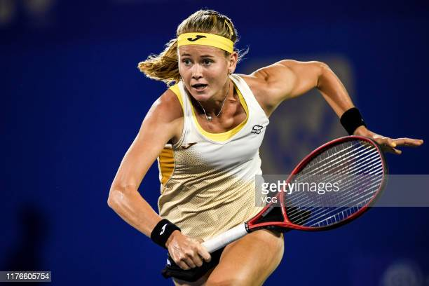 Marie Bouzkova of the Czech Republic reacts in the second round match against Tamara Zidansek of Slovenia on Day two of 2019 Dongfeng Motor Wuhan...