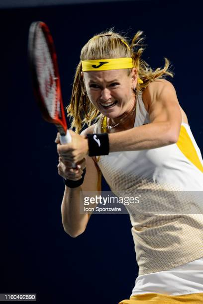 Marie Bouzkova returns the ball during her quarterfinals match of the Rogers Cup tennis tournament on August 9 at Aviva Centre in Toronto ON Canada
