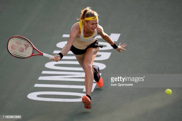 Marie Bouzkova returns the ball during her semifinals match of the Rogers Cup tennis tournament on August 10 at Aviva Centre in Toronto ON Canada