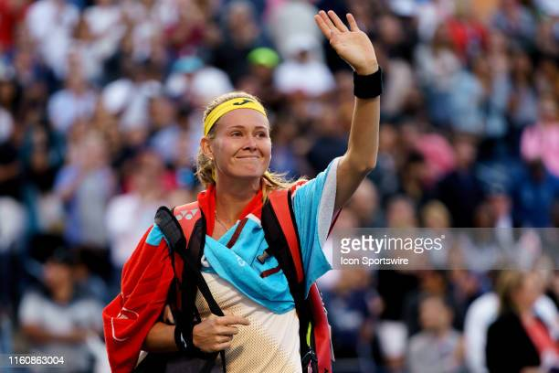 Marie Bouzkova waves to the crowd after losing her semifinals match of the Rogers Cup tennis tournament on August 10 at Aviva Centre in Toronto ON...