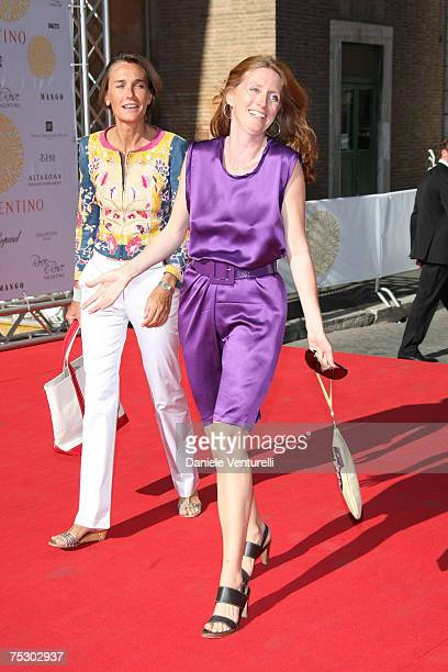 Marie Brandolini D'adda and Delisena Peroni arrive at the Ara Pacis for Valentino's Exhibition opening on July 6, 2007 in Rome, Italy.