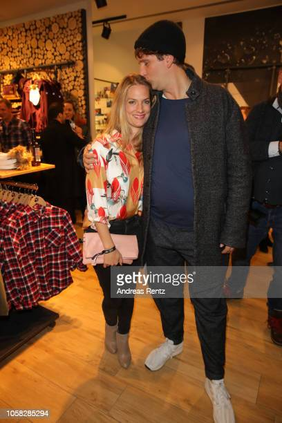 Marie Burchard and her husband Sebastian Schwarz attend the meet and greet at Jack Wolfskin flagship store prior to the movie premiere of 'Wuff' on...