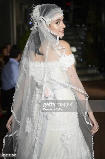 Marie Calfat Nascimento walks the Po de Arroz runway show at New York Fashion Week Bridal October 2017 at Hendrick's Tavern on October 5 2017 in...