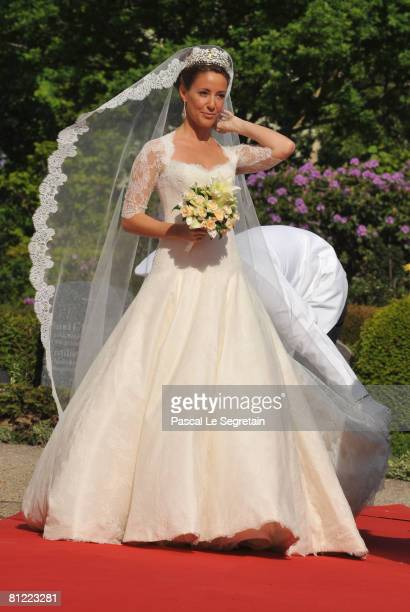 Marie Cavallier arrives to the Mogeltonder church before her wedding to Prince Joachim of Denmark on May 24, 2008 at the Mogeltonder church in...