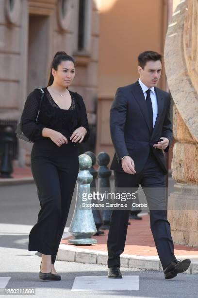 Marie Chevalier Ducruet and Louis Ducruet arrive at the Monaco Cathedral for ElizabethAnn De Massy's Funerals on June 17 2020 in Monaco Monaco