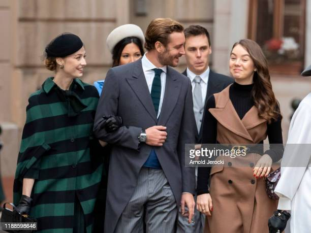 Marie Chevallier Louis Ducruet Beatrice Borromeo Pierre Casiraghi and Alexandra of Hanover arrive at the Monaco Cathedral during the Monaco National...
