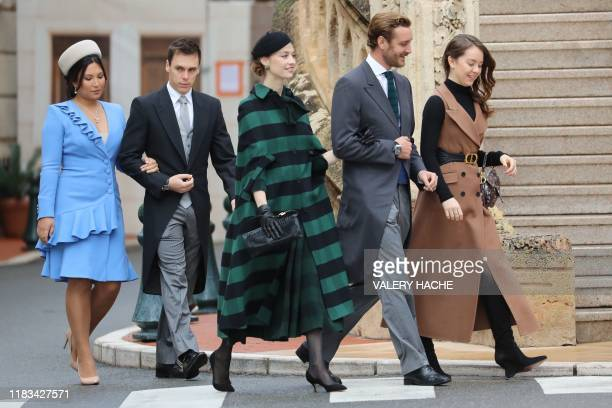 Marie Chevallier, Louis Ducruet, Pierre Casiraghi, his wife Beatrice Borromeo and Princess Alexandra of Hanover arrive to attend a mass at Monaco...