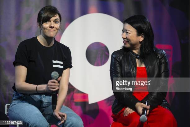 Marie Chevrier, founder and chief executive officer of Sampler App Inc. Left, speaks as Shan-Lyn Ma, co-founder and chief executive officer of Zola,...
