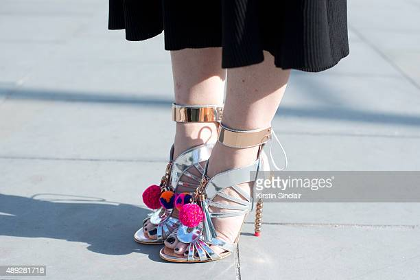 Marie Claire Digital Editorial Director Kate Stephens wears a Zara dress and Sophia Webster shoes on day 2 during London Fashion Week Spring/Summer...