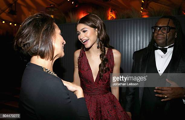 Marie Claire Editor in Chief Anne Fulenwider actress Zendaya and Kazembe Ajamu Coleman attend The Weinstein Company and Netflix Golden Globe Party...