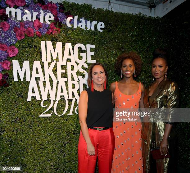 Marie Claire EditorinCheif Anne Fulenwider Issa Rae and Sydelle Noel attend the Marie Claire's Image Makers Awards 2018 on January 11 2018 in West...