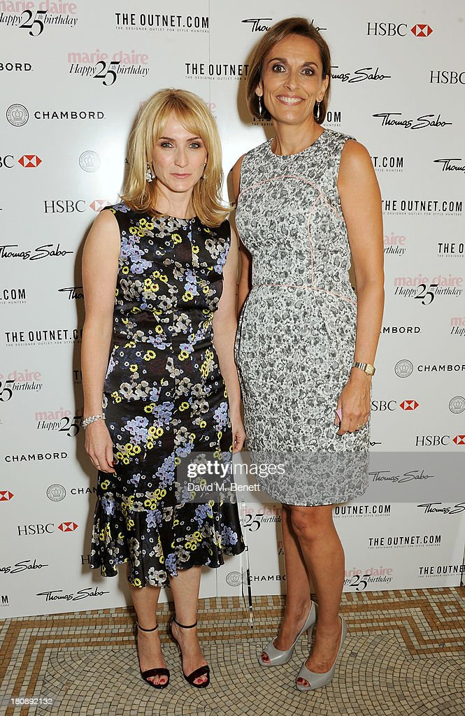 Marie Claire Editor-in-Chief Trish Halpin (L) and Southbank MD Jackie Newcombe arrive at the Marie Claire 25th birthday celebration featuring Icons of Our Time in association with The Outnet at the Cafe Royal Hotel on September 17, 2013 in London, England.