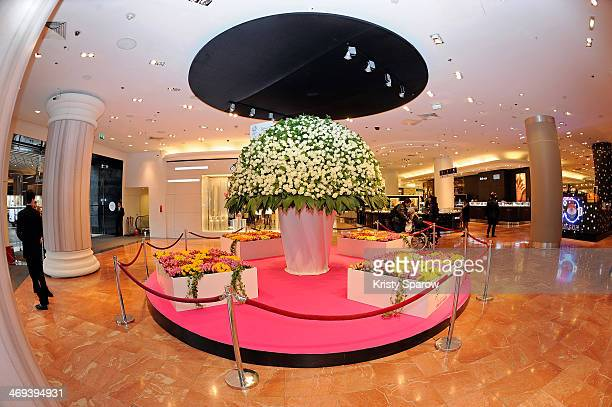 Marie Claire presents a bouquet standing three meters high in celebration of Valentine's Day inside Galeries Lafayette on February 14 2014 in Paris...