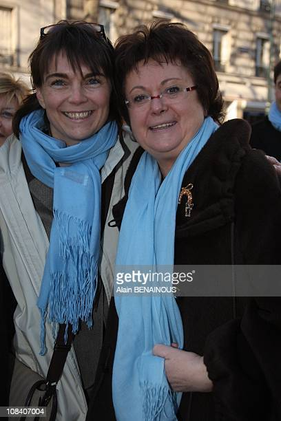 Marie Claire Restoux presents herself in Clichy supported by Christine Boutin and Marie Claire's husband David in Clichy France on 08th February 2008